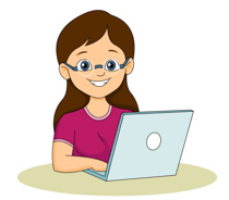 Teenage Girl Working On Laptop Clipart